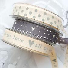 3 X 1M Grey and Cream Quality Grosgrain 15mm Ribbon. Hearts Love Polka Dot