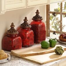 Canister Set 3 Piece Red Glass Vintage Antique Kitchen Counter Top Storage