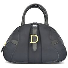 Authentic Christian Dior Nylon Mini Bowling Satchel Hand Bag Purse Black Gold