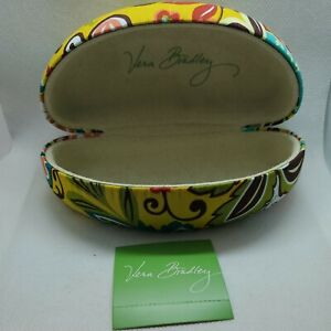 Vera Bradley Yellow Floral Leopard Print Clam Hard Shell Glasses Case NWT