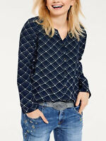 Brand New Size 8,10,12,14,16,18,20 Gorgeous Navy Check Long Sleeve Top (b17)