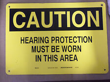 Metal 10 x14 Safety Signage Caution Hearing Protection Must Be Worn In This Area