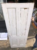 Antique Interior Solid Wood Door 4 Panel Distressed Old White Paint 79.5 X 29.75