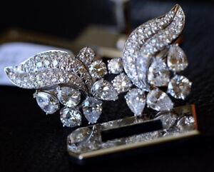 6.44ct Art Deco Diamond Earrings in Platinum ladies estate heavy