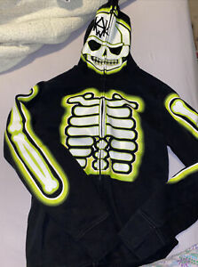 Tony Hawk Glow-in-the-Dark Skeleton Full Zip-Up Hooded Sweatshirt, Youth Large.