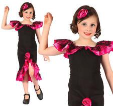 Childrens Rumba Girl Fancy Dress Costume salsa Flamenca Traje Childs Niños M
