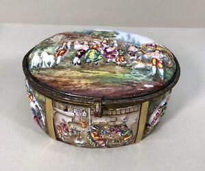 EARLY ANTIQUE CAPODIMONTE PORCELAIN TABLE BOUDOIR JEWELRY BOX - GORGEOUS