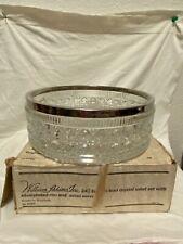 Vintage William Adams 24% Leaded Crystal Salad Bowl, Silver Plated Rim ENGLAND