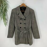 Vintage Tahari Womens Tartan Plaid Wool Suit Jacket Blazer Belted Size 6 Black