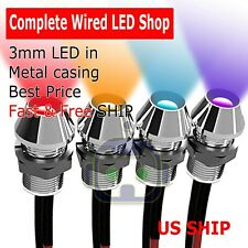 2~10 PCS 3mm Wired LED Diode Metal Case PANEL INDICATOR WARNING LIGHT 12V LAMP