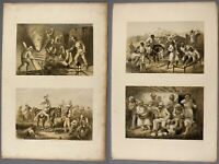 1859 collection of 22 large tinted lithographs from Atkinson's Campaign in India