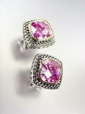 EXQUISITE Balinese Silver Wheat Cable Gold Pink Rose CZ Crystal Square Earrings