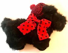 1999 Enesco Mary Engelbreit Plush Henry Black Scottie Dog ~ Red Plaid Polka Dot