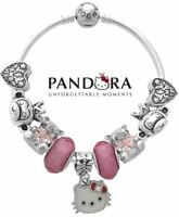 Authentic Pandora Charm Bead Bangle Bracelet S925 Sterling Silver Hello Kitty