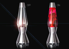 Mathmos METALLIC Large Astro Lava Lamp Chrome Finish bottle Red Lava.