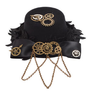 Gothic Steampunk Gear Bowknot Hat Hair Clip Chain Tassels Hat Headwear Hairpin