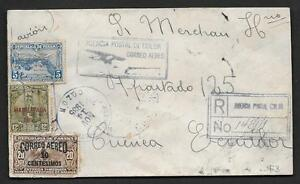 PANAMA 1935 OFFICIAL AIR MAIL COVER W/ OFFICIAL SET OF PANAMA ON REVERSE TO