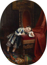 Excellent Oil painting lovely little kids girl playing in sitting room with doll