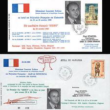 "2 FFC voyagées ""Vol CONCORDE Paris-Mururoa / FABIUS / Essais Nucléaires"" 1985"