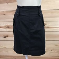 Ann Taylor Skirt 8 Black Stretch Pencil High Waist Button Tabs Pockets Bubble B7