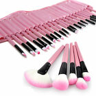 32 PCS Makeup Brush Cosmetic Set Kit Case and PINK Make-up Brushes Pouch Bag