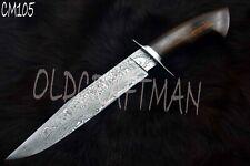 "15.5"" Custom Handmade Damascus Steel Hunting Bowie Knife Rose Wood Handle CM105"