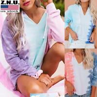 Womens Tie Dye Hooded Sweatshirt Ladies Hoodie Casual Loose Pullover Blouse Tops