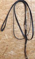 Lederschlaufzügel mit Lederschlaufen,schwarz,mit Gummizug Warmblut, (101)
