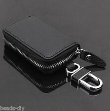 Men's Real Leather Car Key Chain Holder Card Case Key Bag Coin Hook Pouch
