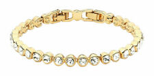 Circle 16K Gold Plated Classic Pendant Necklace with Clear Swarovski Crystals