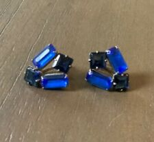 Vintage Jewelry Small Blue Rhinestone Screw-on Earrings  Estate From 40's