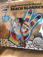 Bigmouth Giant Sized Tie Dye Peace Sign Microfiber Beach Blanket Towel W/Bonus