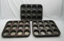 3 vintage American muffin baking tins : Bake King, Silver Beauty & Ovenex .