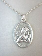 "Thoughtful Cherub Guardian Angel Medal Italy Pendant Necklace 20"" Chain"