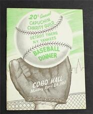 20th Annual Capuchin Charity Guild Baseball Dinner Program Yankees vs. Tigers