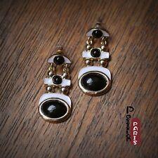 Pendientes Negro Blanco Metálico Esmalte Art Deco Original Regalo CC 4