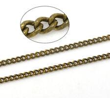 1m Chaine bronze 1,8 x 1,3mm petit maillon maille cheval soudee en cuivre