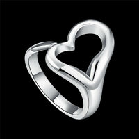 Adjustable Women Elegant Heart Love 18k White Gold Plated & Silver Ring Jewelry