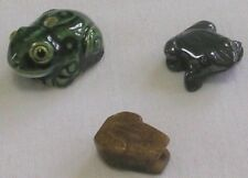3 ASSORTED FROG BEADS (1 EACH) PAINTED CLAY CARVED JASPER CARVED HEMATITE