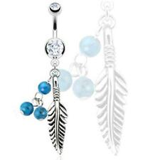 Surgical Steel Clear Gem Belly Ring with Feather & Turquoise Stone Bead Dangle