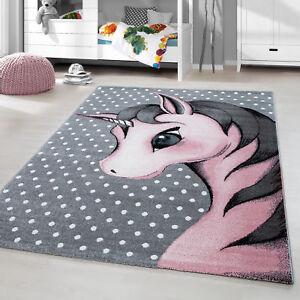 Kinderteppich Kurzflor Einhorn Baby Kinderzimmer Babyzimmer Grau Pink  Meliert