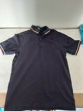 Mens Fred Perry Polo Shirt Xs 60s Casuals Mod Blue Slim 34 Chest Vgc Ska