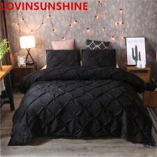 Luxury Black Duvet Cover Pinch Pleat Brief Bedding Set Queen King Size 3pcs Bed