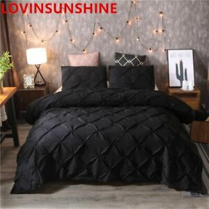 Luxury Black Duvet Cover Pinch Pleat Brief Bedding Set Queen King Size 3pcs Bed