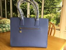Joy & Iman Hollywood Glamour Handbag w/ 24 Section Leather Tote. French Blue