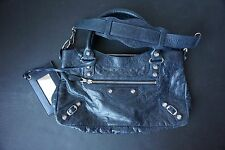 AUTHENTIC BALENCIAGA DARK NAVY ARENA GIANT 12 FIRST SILVER HARDWARE SHOULDER BAG