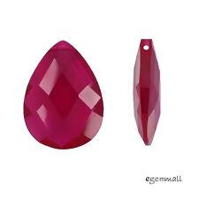 Synthetic Corundum  / Lab Ruby Flat Pear Briolette Bead 12x16mm Fuchsia #64399