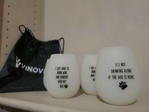Vinovita Set Of 4 Silicone Travel Portable Wine Cups Glasses Dog