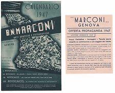 Pubblicità Ditta B. N. Marconi Genova calendario 1947 advertising reklame