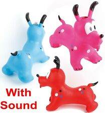 Inflatable Hopper Dog With Sound Bouncy Pony Kids Jumping Ride Bouncer Animal